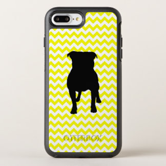 Lemon Yellow Chevron With Pug Silhouette OtterBox Symmetry iPhone 8 Plus/7 Plus Case