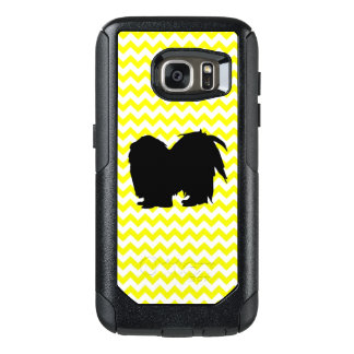Lemon Yellow Chevron With Shih Tzu Silhouette OtterBox Samsung Galaxy S7 Case