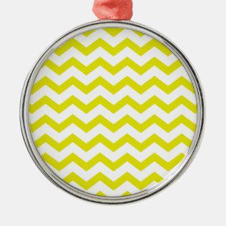Lemon Yellow Chevrons Metal Ornament