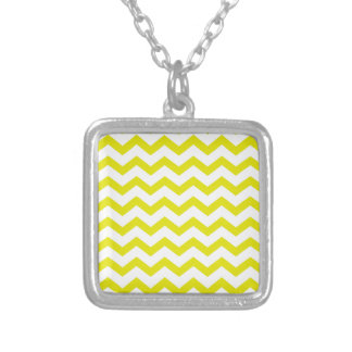 Lemon Yellow Chevrons Silver Plated Necklace
