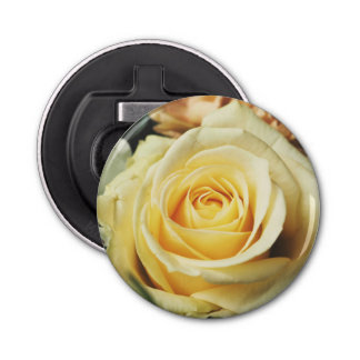 Lemon Yellow Cream Rose Bottle Opener