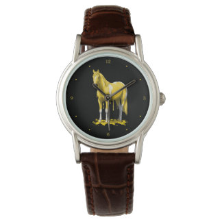Lemon Yellow Dripping Wet Paint Horse Wristwatches