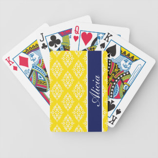 Lemon Yellow Empress Print Poker Deck