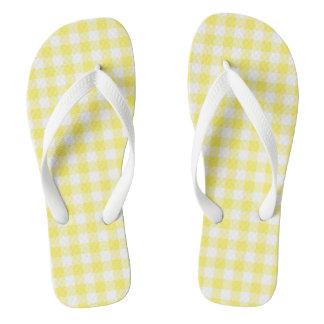 Lemon Yellow Gingham Check Flip Flops Adult