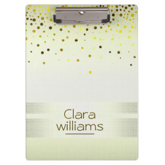 Lemon Yellow Glitter Linen Sparkle Confetti Modern Clipboard