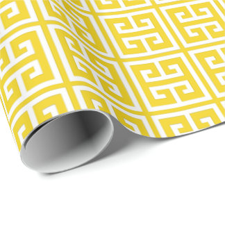Lemon Yellow Greek Key Pattern Wrapping Paper