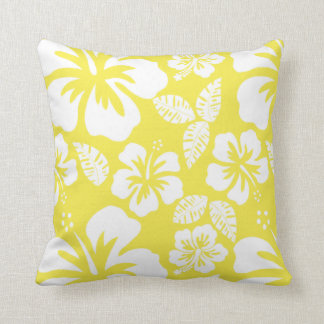 Lemon Yellow Hawaiian Tropical Hibiscus Cushion