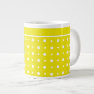 Lemon Yellow Jumbo Mug, White Polka Dots Jumbo Mug