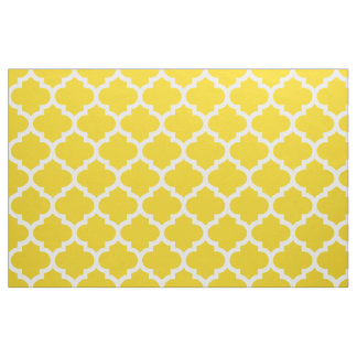 Lemon Yellow Moroccan Quatrefoil Trellis Fabric