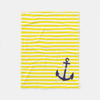 Lemon Yellow Nautical Stripes and Navy Blue Anchor Fleece Blanket