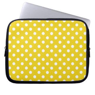 Lemon Yellow Polka Dot Pattern Laptop Sleeve
