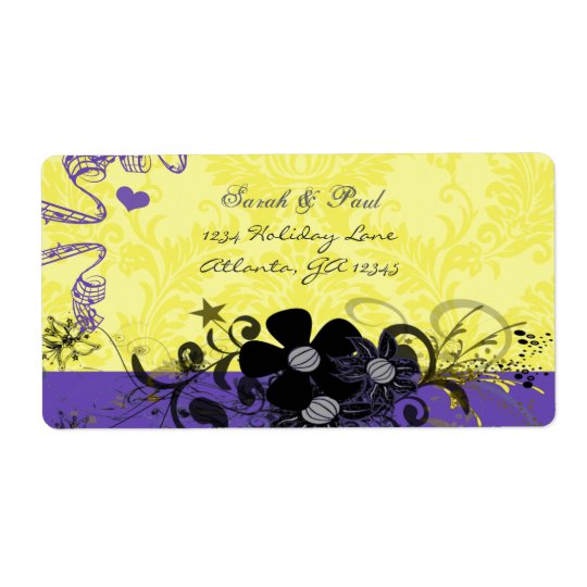Lemon Yellow & Purple  Flower Swirl Return Address