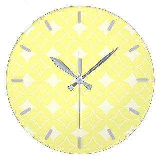 Lemon yellow shippo pattern large clock
