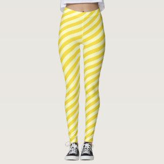Lemon Yellow Sunny Striped Pattern Leggings