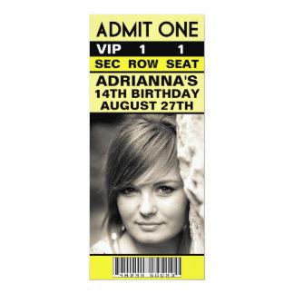 Lemon Yellow VIP Photo Ticket Birthday Party Custom Invitations