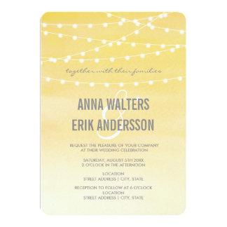 Lemon Yellow Watercolor String Lights 13 Cm X 18 Cm Invitation Card