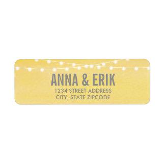 Lemon Yellow Watercolor String Lights Return Address Label