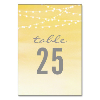 Lemon Yellow Watercolor String Lights Table Card