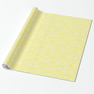 Lemon Yellow White Damask Pattern Gift Wrap