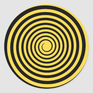 Lemon Zest Yellow & Black Spiral Customized Blank Round Sticker