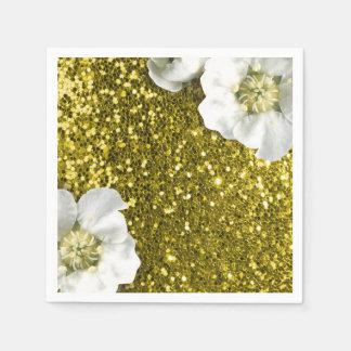 Lemonade Gold Mustard Jasmin Glitter Sequin Sparkl Paper Napkin