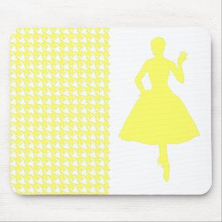 Lemonade Modern Houndstooth w/ Fashion Silhouette Mouse Pad