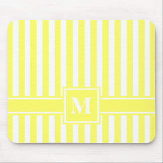 Lemonade Modern Stripe with Monogram Mouse Pad