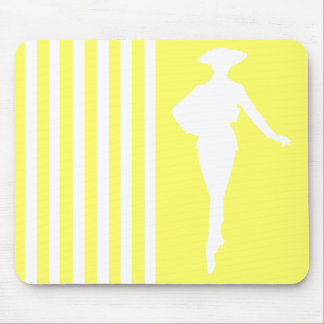 Lemonade Modern Stripes with Fashion Silhouette Mouse Pad