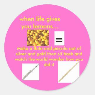 lemons= a flute classic round sticker
