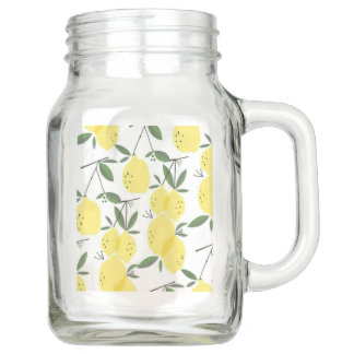 Lemons abound on this Mason jar with handle