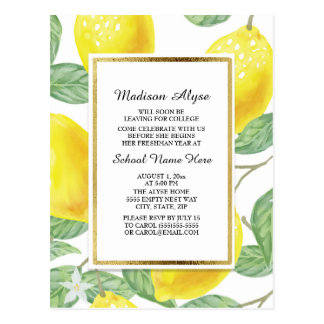 Lemons and Leaves on White Trunk Party  Card