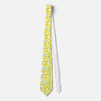 Lemons and leaves  pattern design tie