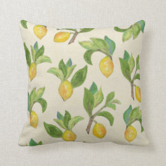 Lemons and Leaves throw pillow Throw Cushions