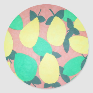 Lemons and Limes Citrus Fresh Pattern Classic Round Sticker