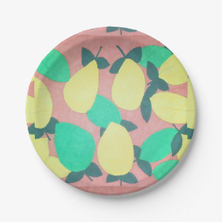 Lemons and Limes Citrus Fresh Pattern Paper Plate