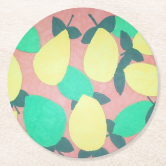 Lemons and Limes Citrus Fresh Pattern Round Paper Coaster