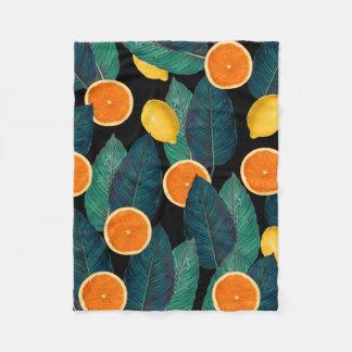 lemons and oranges black fleece blanket