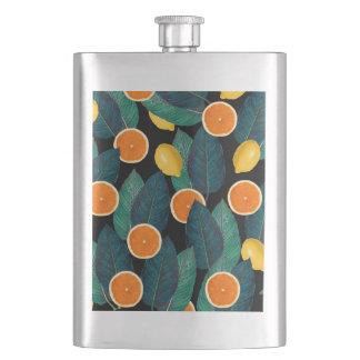 lemons and oranges black hip flask