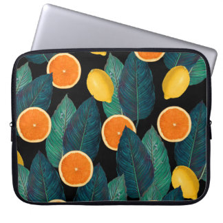 lemons and oranges black laptop sleeve