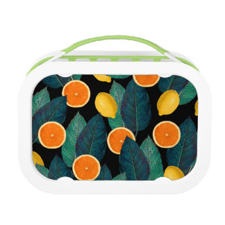 lemons and oranges black lunch box