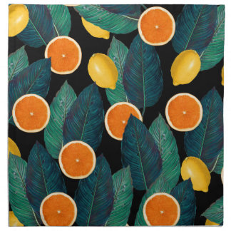 lemons and oranges black napkin
