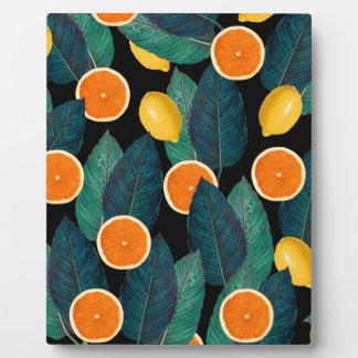 lemons and oranges black plaque
