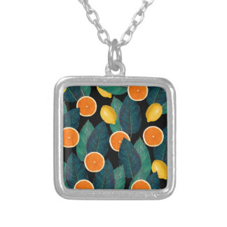 lemons and oranges black silver plated necklace