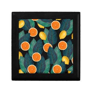 lemons and oranges black small square gift box