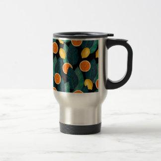 lemons and oranges black travel mug