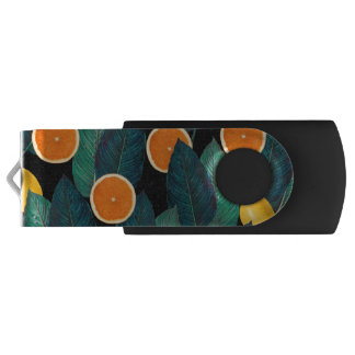 lemons and oranges black USB flash drive