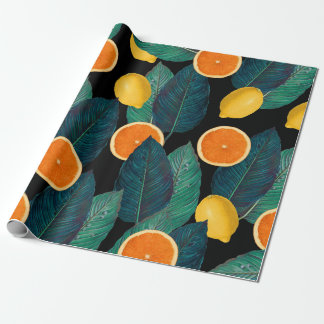 lemons and oranges black wrapping paper