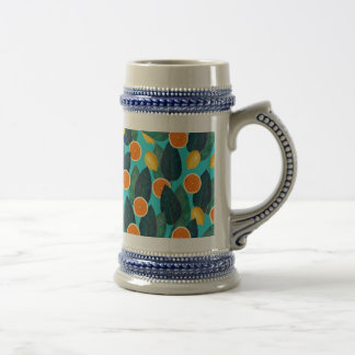 lemons and oranges teal beer stein