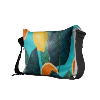 lemons and oranges teal commuter bag