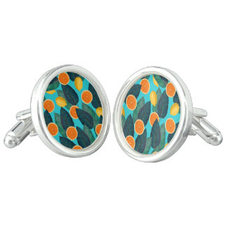 lemons and oranges teal cuff links